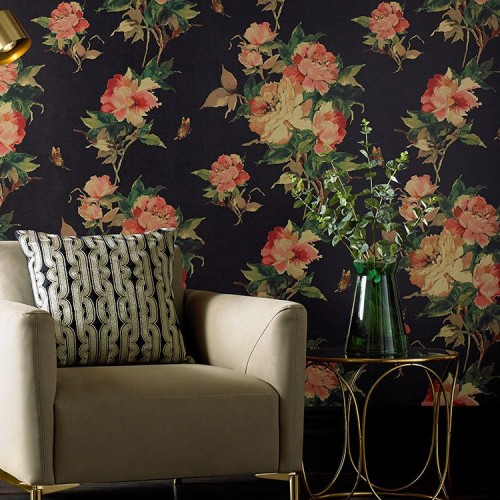 Обои 1838 Wallcoverings Camellia Madama Butterfly Ebony  1703-108-06