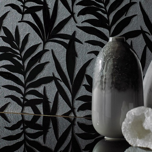 Обои 1838 Wallcoverings Camellia Verdi Ebony Flock 1703-113-07