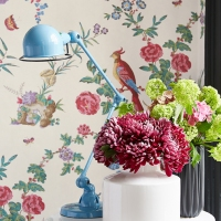 Обои Little Greene Archive Trails Darwin - Serein в интерьере