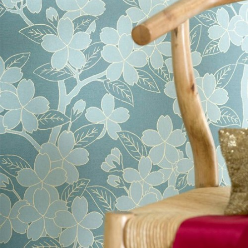 Обои Little Greene 20th Century Papers Camellia - Teal 0275CATEALZ
