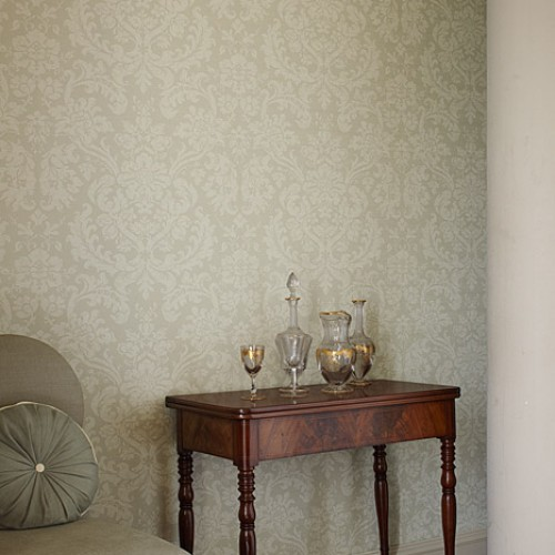 Обои Zoffany Classic Damask Wallpaper Tours Silver CDW03011