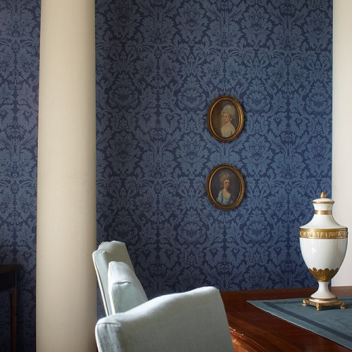 Обои Zoffany Classic Damask Wallpaper Versailles Blue CDW04010