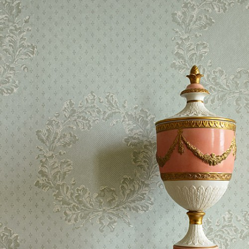 Обои Zoffany Classic Damask Wallpaper New Oak Garland Duck Egg CDW05017