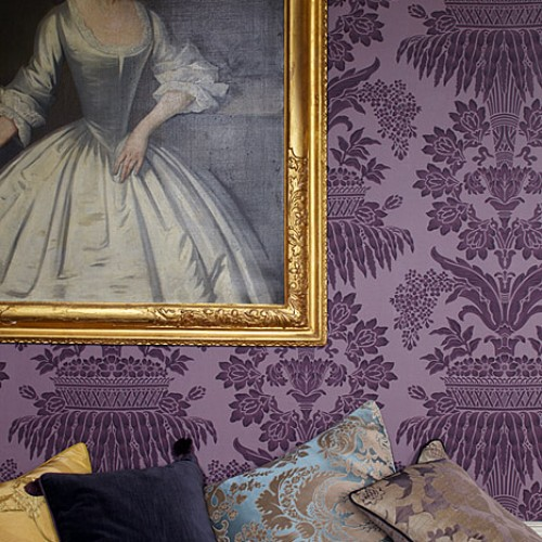 Обои Zoffany Classic Damask Wallpaper Long Gallery Aubergine CDW08003