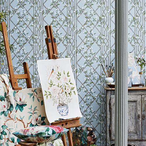 Обои Zoffany Woodville Papers Jasmine Lattice Sky 311332