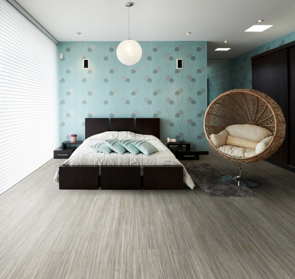 Бирюзовые обои в спальне фото